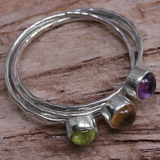 Set of 3 Handcrafted Sterling Silver 'Magical Trio' Amethyst Peridot Citrine Rings (Indonesia)