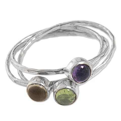 Handmade Set of 3 Sterling Silver 'Magical Trio' Amethyst Peridot Citrine Rings (Indonesia)