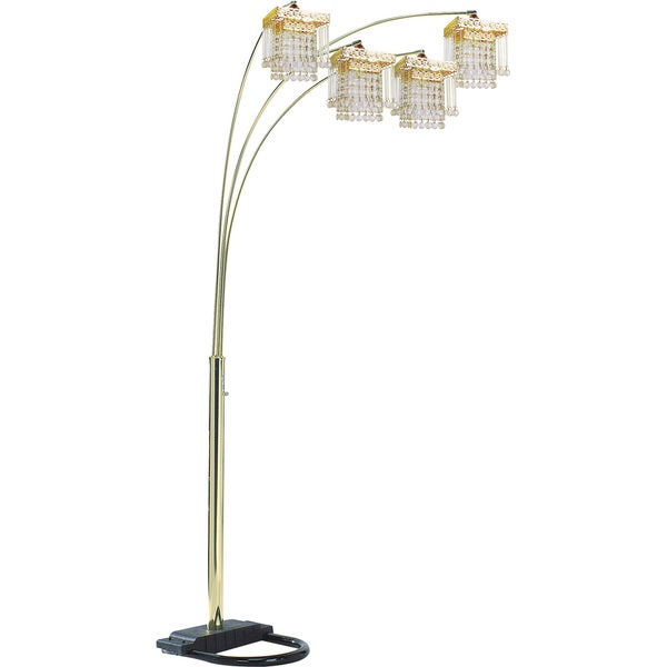 QMax Goldtone Faux Crystal 84-inch 4-light Adjustable Floor Lamp