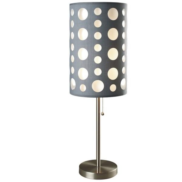 QMax Grey/White Fabric/Metal 30-inch Retro Dual Shade Table Lamp