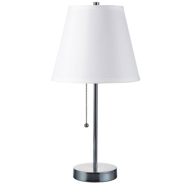 QMax Polished Chrome 20-inch Table Lamp With Pull Switch