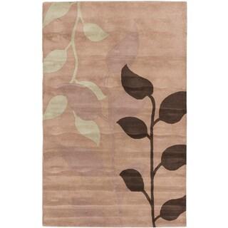 ecarpetgallery Ivory Wool Hand-made Leaf Rug (5' x 8')
