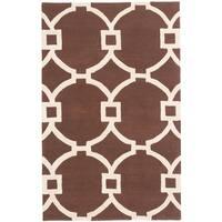 eCarpetGallery Dark Brown/Cream Wool/Cotton Handmade Monaco Rug - 5' x 8'