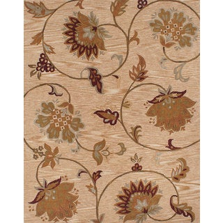 eCarpetGallery Blue and Brown Wool Hand-made Floral Pattern Wool Rug (7'9 x 9'9)