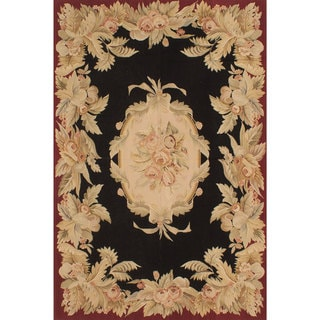 eCarpetGallery Handmade French Tapestry Black and Red Wool Sumak Rug