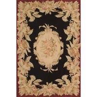 ecarpetgallery Sumak French Tapestry Black/Red Wool Handmade Rug - 8'0 x 10'0