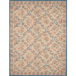 ecarpetgallery Ivory Wool/Cotton Handmade French Tapestry Sumak (11'0 x 14'0)