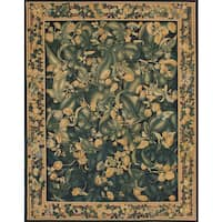 ecarpetgallery Black/Green Wool/Cotton Handmade French Tapestry Sumak Rug