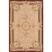 ecarpetgallery Ivory/Red Wool Hand-made French Tapestry Sumak Rug (6'0 x 9'0)