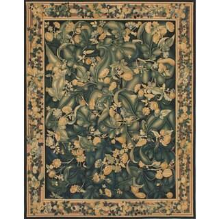 ecarpetgallery Black/Green Wool/Cotton Handmade French Tapestry Sumak Rug (6'0 x 9'0)