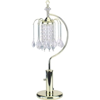 QMax Gold 27-inch Table Lamp With Crystal-inspired Shade