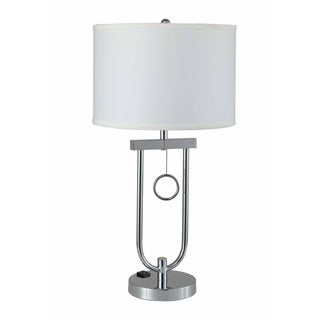 QMax Silver-tone Linen/ Metal 29-inch Modern Pendulum Table Lamp