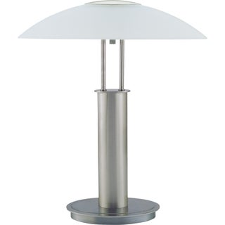 QMax Brushed Nickel 18-inch Touch Table Lamp With Glass Mushroom Lampshade