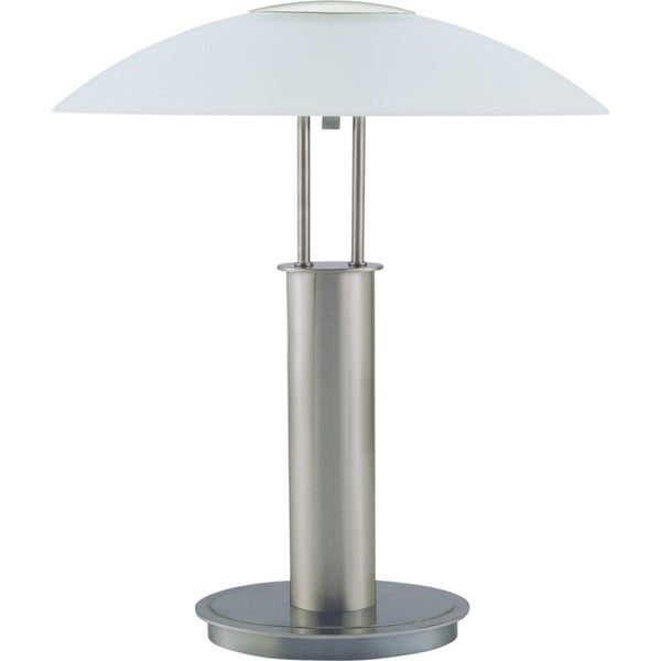 Shop qmax brushed nickel 18 inch touch table lamp with glass qmax brushed nickel 18 inch touch table lamp with glass mushroom lampshade aloadofball Images