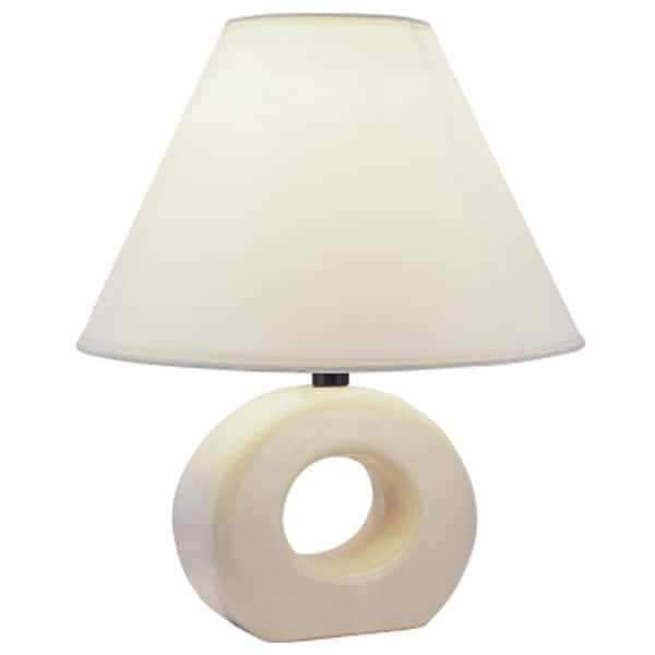 Shop Qmax Pastel Ivory Ceramic Linen 12 Inch Table Lamp On Sale