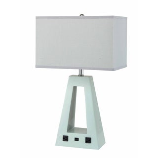 QMax Contemporary Pyramid White Polyresin and Linen 26-inch Table Lamp
