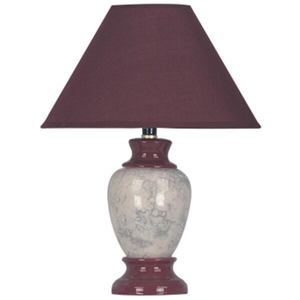 QMax Burgundy Ceramic 15-inch Accent Table Lamp