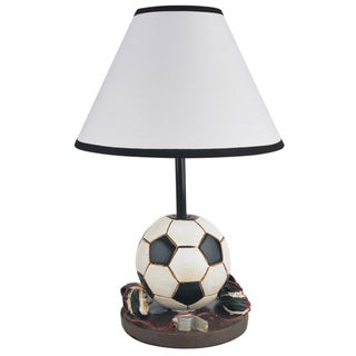 QMax Soccer Polyresin 15.75-inches High Table/Desk Lamp