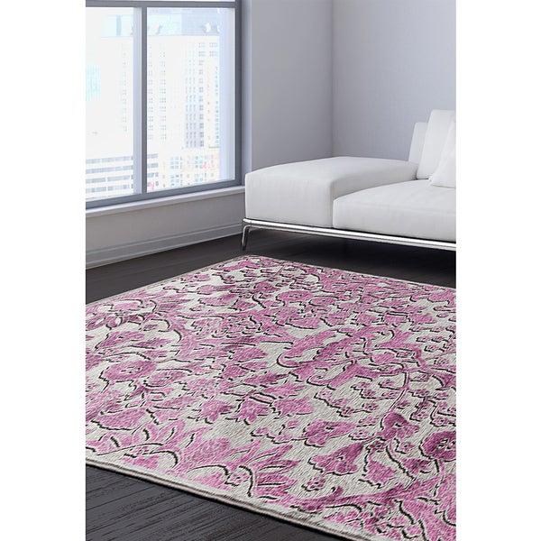 Shop ECarpetGallery Cadiz Grey/Pink Viscose Rug