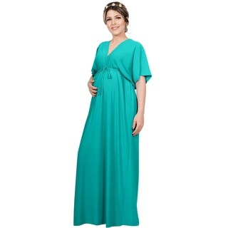 Koh Koh Women's Polyester and Spandex Long Maternity Maxi Dress