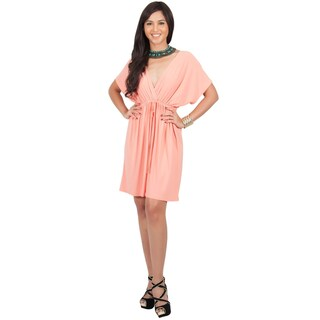 KOH KOH Womens Summer V-neck Kimono Kaftan Sleeve Beach Mini Dress (Option: light pink peach - XL)