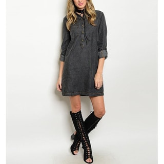 JED Women's Dark Denim Cotton Long-sleeve Shirt Dress