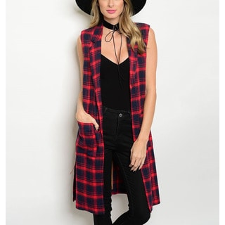 JED Women's Open Front Long Plaid Vest with Skinny Belt
