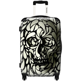 Murano Skull Lace Black and White Polycarbonate 20-inch Carry-on Hardside Spinner Suitcase