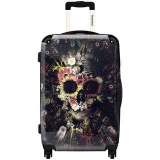 Murano Flower Skull Multicolor Aluminum and Polycarbonate 20-inch Fashion Hardside Carry-on Spinner Suitcase