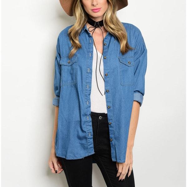 bb0edd4dc38 Shop JED Women s Relax Fit Cotton Denim Long-sleeve Button-down ...