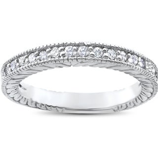 14k White Gold 1/5 ct TDW Heirloom Diamond Vintage Stackable Wedding Ring (Option: Size 4)
