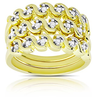Finesque Gold Over Silver or Sterling Silver 1/4ct TDW Diamond Stackable Ring