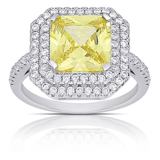 Dolce Giavonna Sterling Silver Simulated Yellow Diamond and Cubic Zirconia Square Halo Engagement Ring