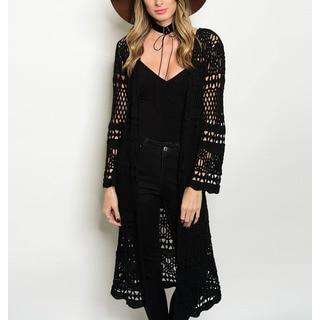 JED Women's Black Crochet Cotton Long-length Cardigan