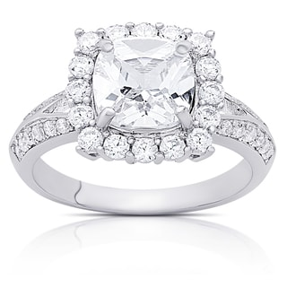 Dolce Giavonna Sterling Silver Cubic Zirconia Square Design Engagement Ring