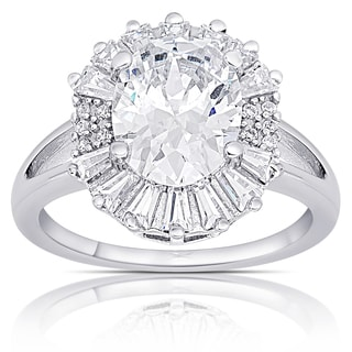Dolce Giavonna Sterling Silver Cubic Zirconia Oval Halo Design Ring