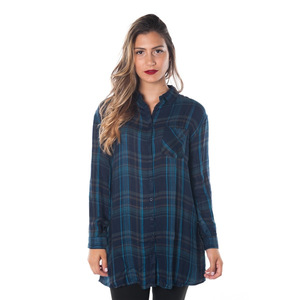 Women 39 s rayon long sleeve button down plaid shirt with for Women s button down shirts extra long