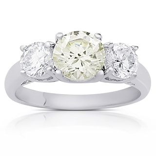 Dolce Giavonna Sterling Silver Simulated Yellow Diamond and Cubic Zirconia Three Stone Engagement Ring