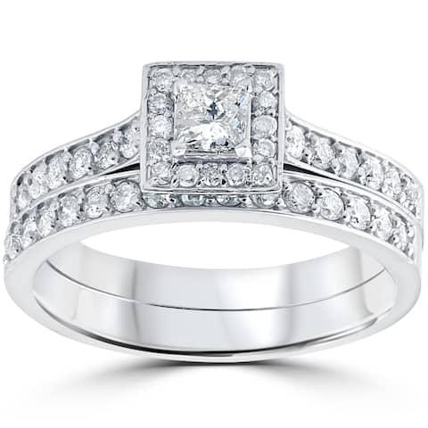 10k White Gold 3/4 cttw Princess Cut Diamond Halo Engagement Wedding Ring Set - White I-J
