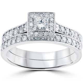 10k White Gold 3/4 cttw Princess Cut Diamond Halo Engagement Wedding Ring Set