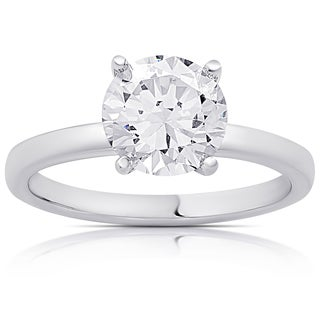 Dolce Giavonna Sterling Silver Cubic Zirconia Solitaire Engagement Ring