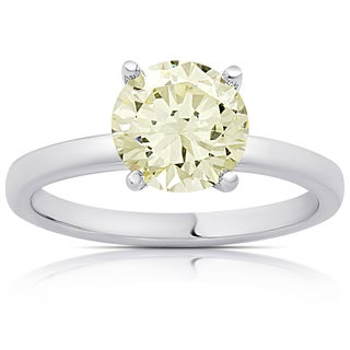 Dolce Giavonna Sterling Silver Simulated Yellow Diamond Solitaire Engagement Ring