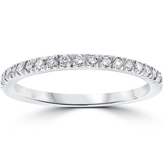 14k White Gold 1/3 ct TDW Pave Diamond Stackable Wedding Ring (2 options available)