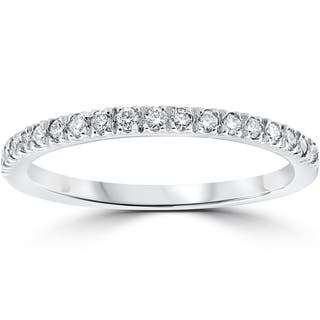 14k white gold 13 ct tdw pave diamond stackable wedding ring - Ring Wedding
