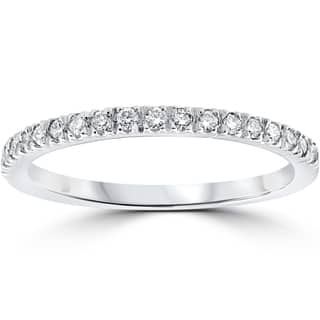 14k white gold 13 ct tdw pave diamond stackable wedding ring - Womens Wedding Ring