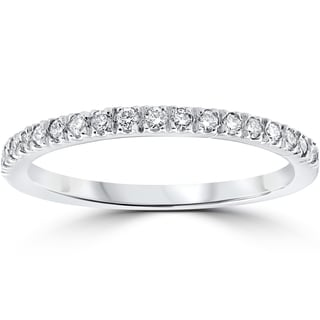 Genial 14k White Gold 1/3 Ct TDW Pave Diamond Stackable Wedding Ring