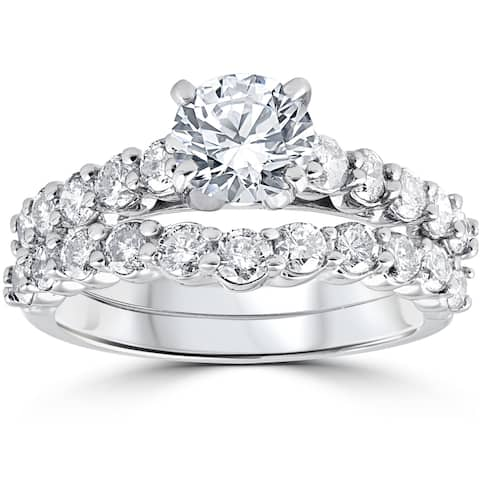 14k White Gold 2ct TDW Diamond Engagement Wedding Ring Set