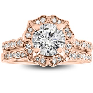 14k Rose Gold 2 cttw Diamond Clarity Enhanced Halo Vintage Engagement Ring & Wedding Band