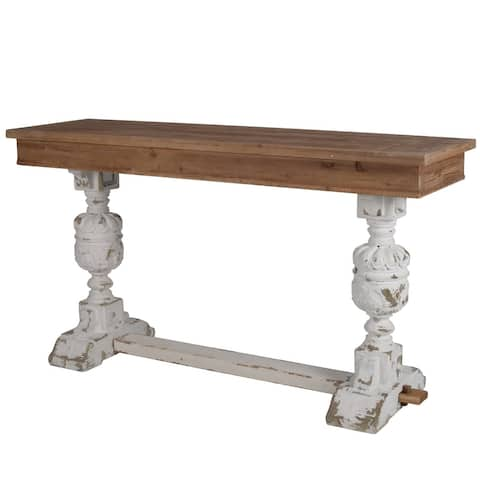 White/Brown Wood Distressed Console Table