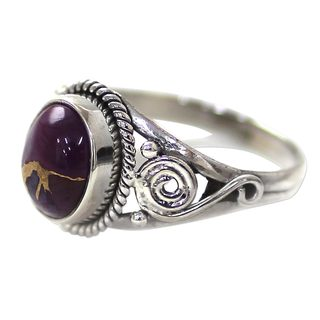 Handmade Sterling Silver 'Purple Attunement' Composite Turquoise Ring (India)